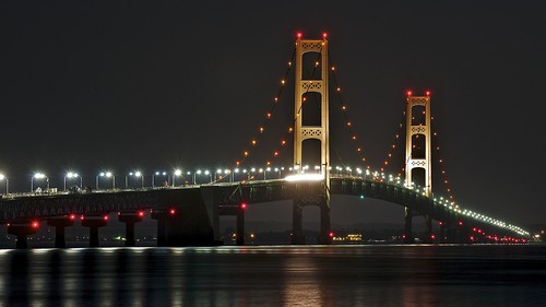 reflection water night lights one unitedstates michigan towers greatlakes midnight infrastructure upperpeninsula suspensionbridge i75 mackinacbridge stignace 30seconds 16x9 straitsofmackinac mackinawbridge mackinaccity northernmichigan interstate75 lowerpeninsula longexposurewater bridgeviewpark