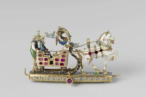 003- Colgante de oro, caballo y trineo, una mujer y un auriga, anónimo, 1600- Rijksmuseum