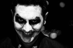 joker, face, monochrome photography, fictional character, monochrome, darkness, black-and-white, black,