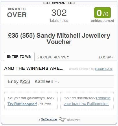Sandy Mitchell Giveaway - winner