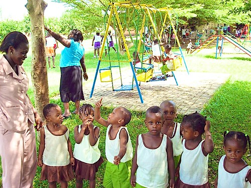 Kindergarten pupils in the playground at St Louis Jubilee School, Kentinkrono, Ghana