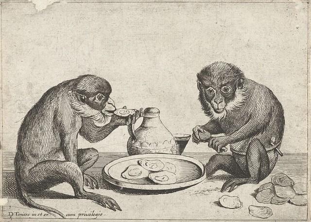 Twee apen eten oesters, Quirin Boel, 1635