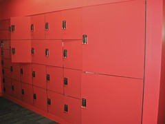 wall, room, red, cupboard, locker, pink,