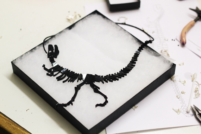 Tatty Devine Dinosaur necklace workshop finished
