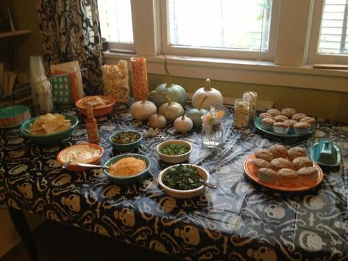 Pumpkin carving party spread