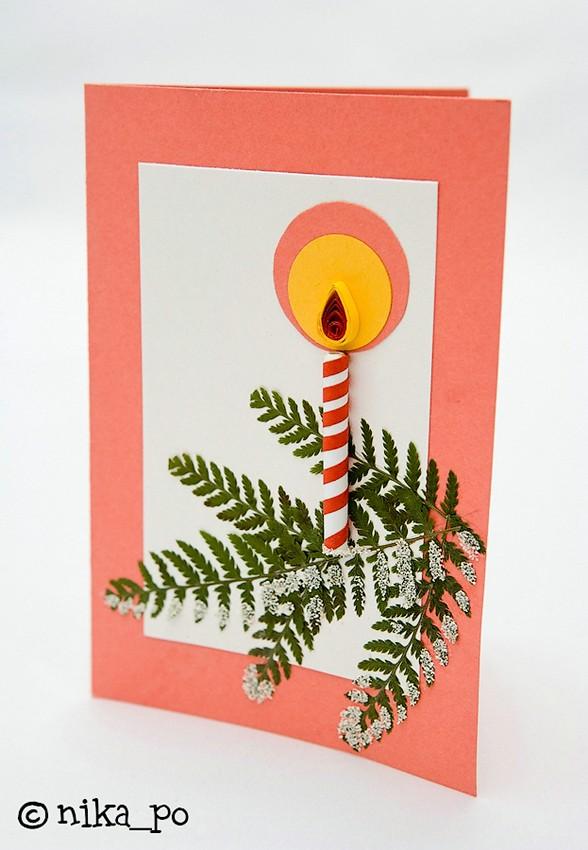 Объемная елочка для открытки своими руками