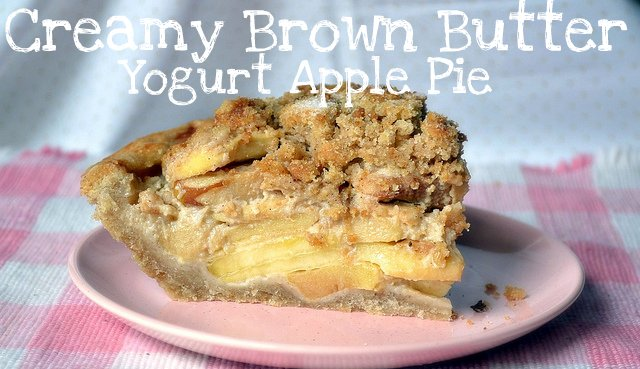 creamy brown butter yogurt apple pie