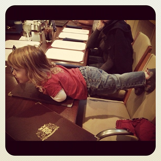 Zooey was planking at dinner tonight .