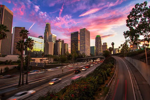 california sunset losangeles overpass 1022mm dtla hdr highdynamicrange goldenhour bonaventurehotel downtownlosangeles librarytower 110freeway usbankbuilding canon7d ©shabdrophoto