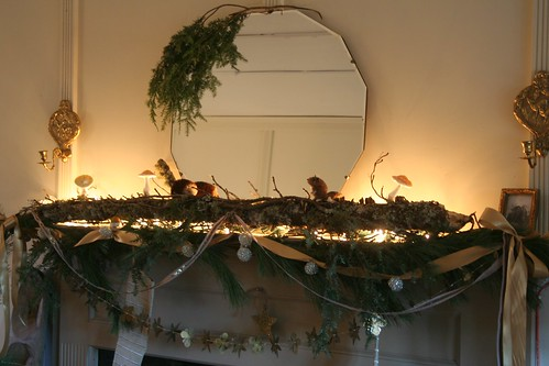christmas mantle, from the garden