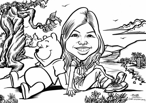 birthday caricature with Winnie the Pooh