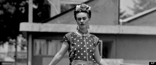 Frida Kahlo in black and white