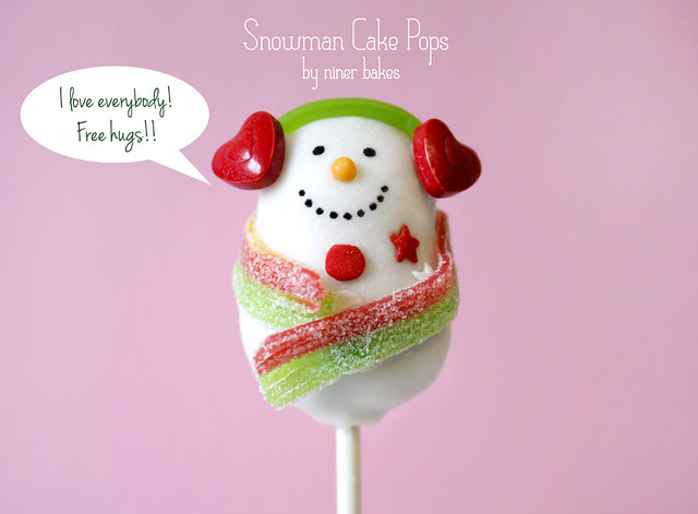 Christmas Wonderland Cake Pops: Stockings, Snowmen, Penguins, Santa Hats, Holly Leafs, Christmas Trees and more! - A Snowman Cake Pop who loves the whole world