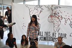 台灣青年毛姿媛於聯合國青年記者會分享親身經歷,照片提供:台灣青年氣候聯盟