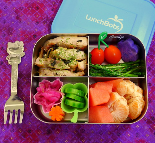 Grilled Furikake Chicken LunchBots Quad Bento by sherimiya ♥