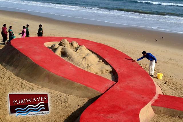 World's Biggest sand ribbon at Puri Chandrabhaga Beach