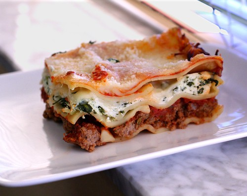 Meat and Cheese Lasagna with Spinach