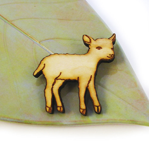 Little Lamb Wood Pin 1