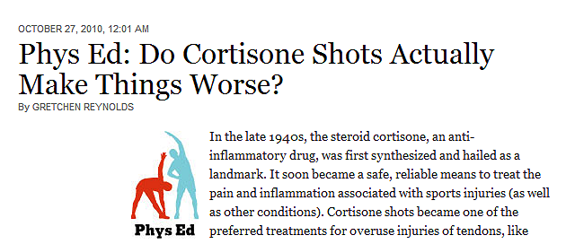 Cortisone Shots For Tennis Elbow Treatment [Article: NY Times]