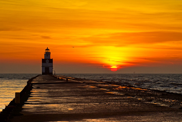 Lighthouse, Kewaunee, Wisconsin, Sunrise, Pier