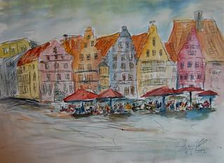 24 Marktplatz Bremen Aquarelle 30x40 2012