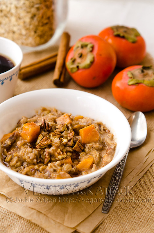 This breakfast of pecan persimmon oatmeal is warm, aromatic, filled with sweet persimmon, plus crunchy pecans and spices. Delicious and quick! #vegan #oatmeal #breakfast