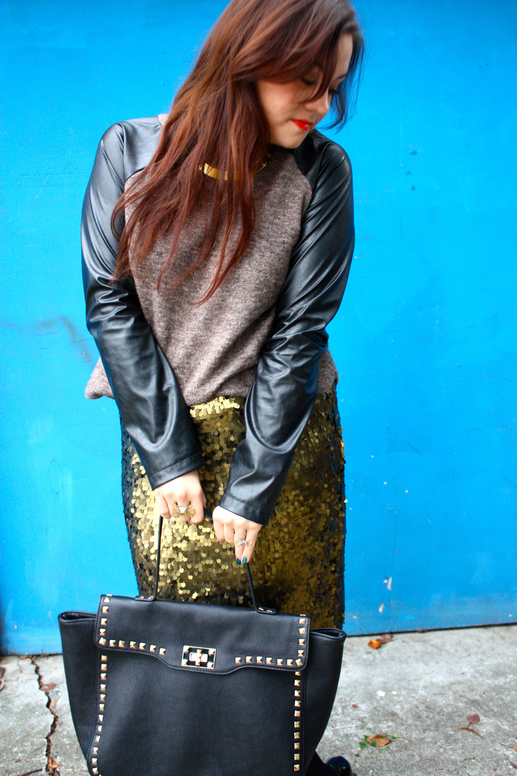 sequin pencil skirt - leather sleeve raglan sweater - studded trim tote - tights - ankle boots12
