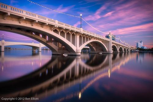 blue arizona usa reflections colours magenta cityscapes bridges sunsets pastels softfocus tempe tempetownlake millavebridge