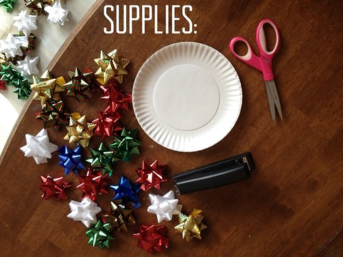 Supplies for paper plate bow wreaths