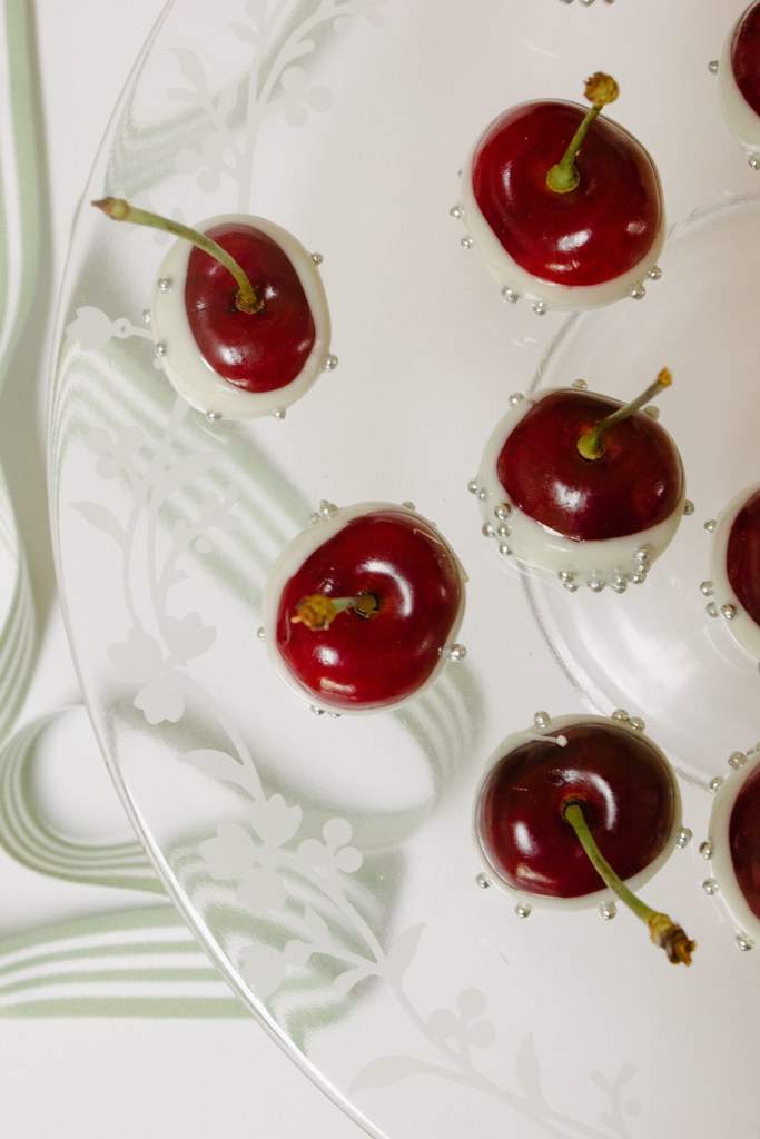 White chocolate dipped cherries