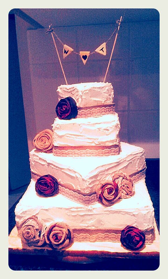 Rustic Burgundy and Burlap Wedding Cake by Zee's Delights