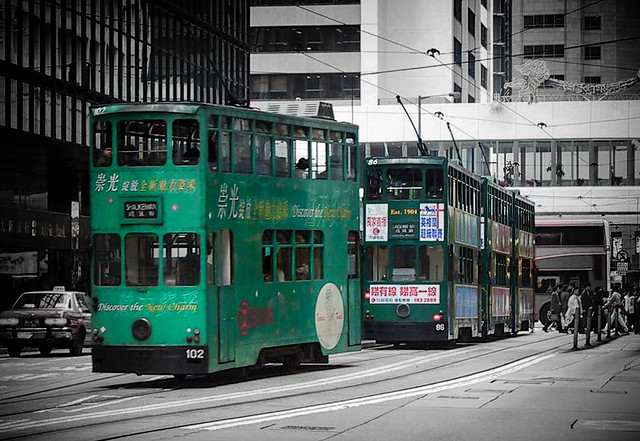 Trams in Central District, Hong Kong