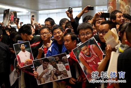 October 24, 2012 - a crowd waits for Tracy McGrady to arrive at the Qingdao airport in China