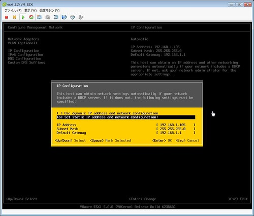 ESXi Installation Screenshot