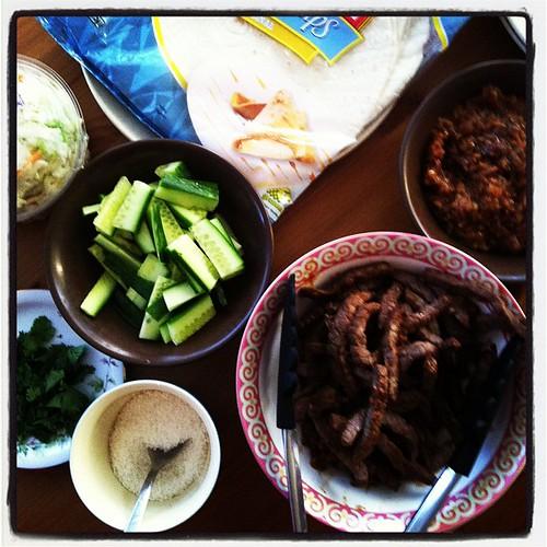 Dinner! Satay beef wraps.