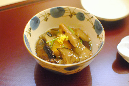 fried root with mushrooms