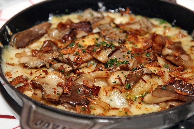 "Gratin de Cardons ""Dauphinois"" - cardoon & potato gratin, mushroom Fricassee, fresh herbs"