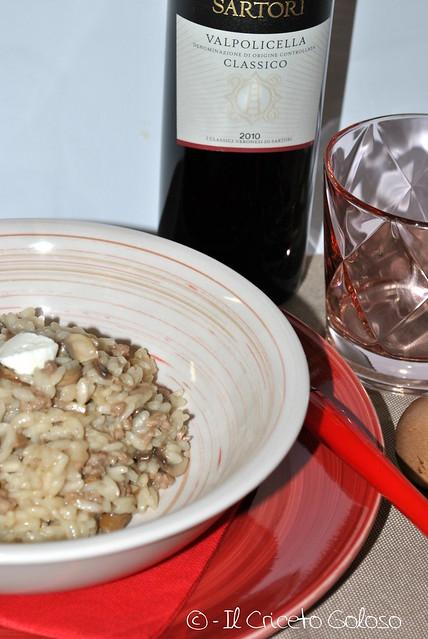Risotto con carne, funghi e fiorone di capra (2)