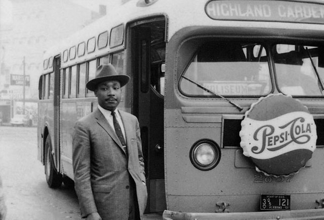 Alabama: Montgomery, GM Old Look bus. M.L.K. in bus boycott