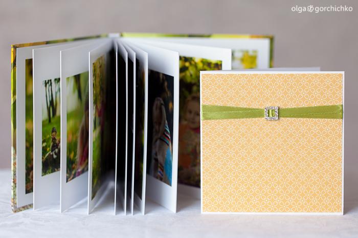 Минибук с осенней фотосессией Насти и конверт для диска