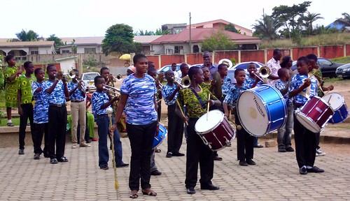 The school band preparing for the end of year performance at St Louis Jubilee School, Kentinkrono, Ghana