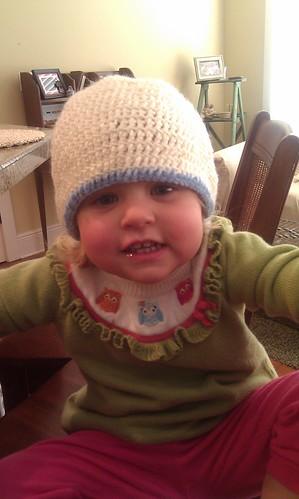 Caroline trying on Benjamin's new hat! by sweet mondays