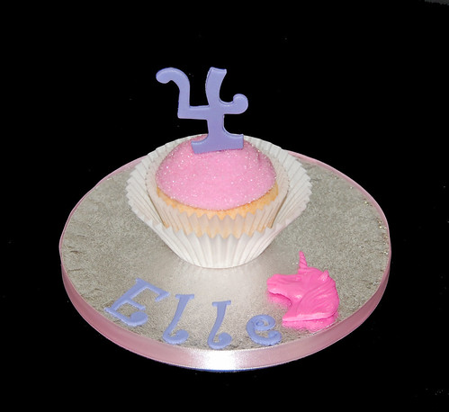 4th Birthday personalized jumbo cupcake unicorn princess party