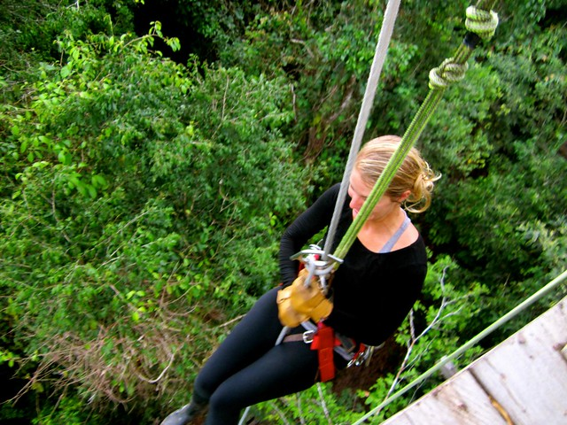 Peru Travel - repelling down in the amazon