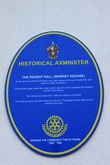 Photo of Regent Cinema, Axminster, Regent Hall, Axminster, and Town Stocks, Axminster blue plaque