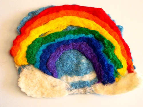 M's wet felted rainbow
