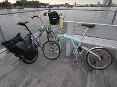 金, 2012-10-26 08:11 - East River FerryのGreenpoint桟橋でフェリーを待つチャリ