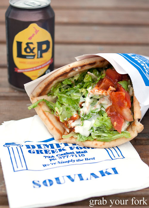 lamb souvlaki and L&P at dimitri's re:start mall christchurch
