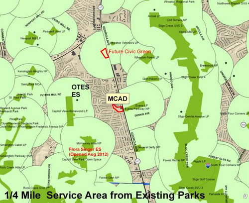"Map of Park ""Service Areas"" in Carroll Knolls/McKenney Hills"