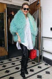 Rita Ora Bright Fur Trend Celebrity Style Women's Fashion